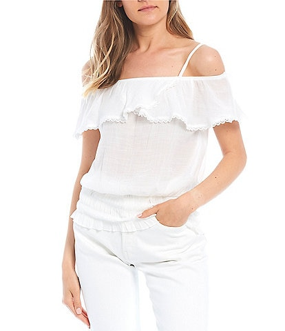 I.N. San Francisco Ruffle Off The Shoulder Top