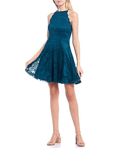I.N. San Francisco Scallop Armhole Lace Skater Dress