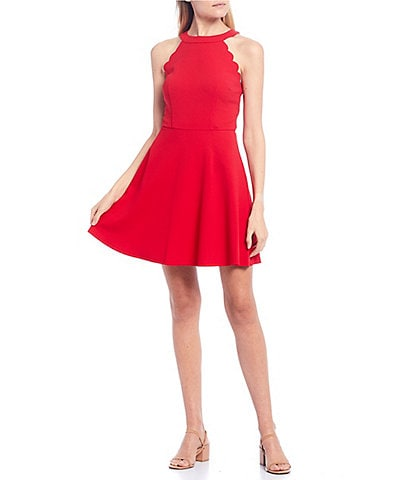 I.N. San Francisco Scalloped Armhole Fit & Flare Dress
