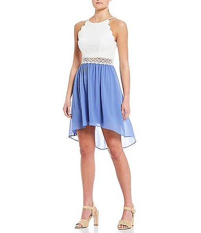 I.N. San Francisco Scalloped Armhole High-Low Dress