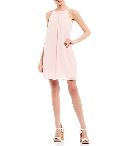 I.N. San Francisco Scalloped Shift Dress