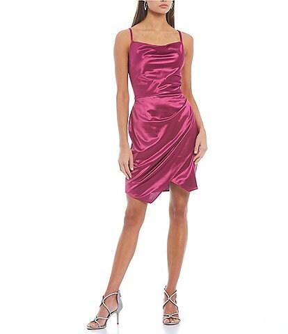 I.N. San Francisco Sleeveless Cowl Neck Faux-Wrap Asymmetrical-Hem Satin Dress