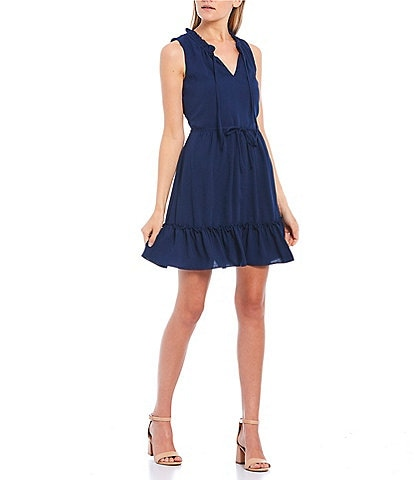 I.N. San Francisco Sleeveless Flounce Hem Shift Dress