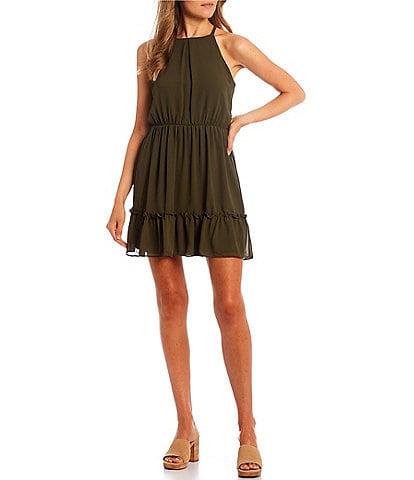I.N. San Francisco Sleeveless High-Neck Ruffled Hem Fit-and-Flare Dress