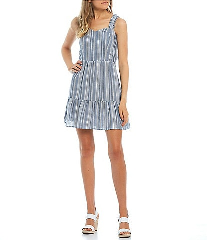 I.N. San Francisco Sleeveless Sweetheart Tie-Back Striped Tank Dress