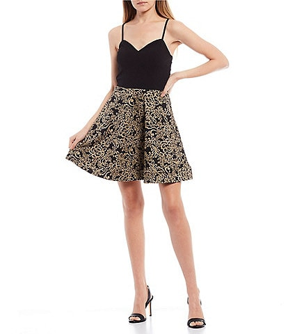 I.N. San Francisco Spaghetti Strap Lurex Jacquard Skirt Fit-and-Flare Dress