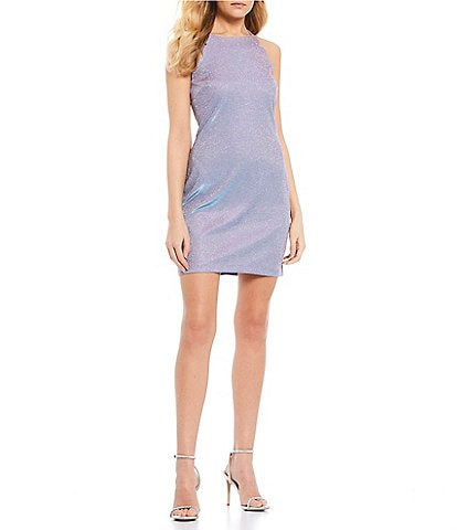 I.N. San Francisco Spaghetti Strap Scalloped Shine Sheath Dress