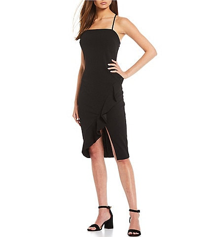 Midnight Doll Spaghetti-Strap Square-Neck Ruffled Front Slit Midi Dress