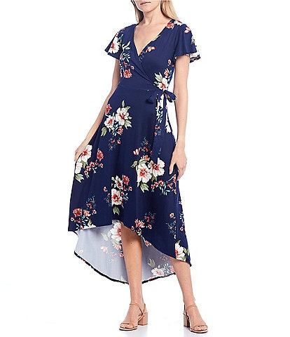 I.N. San Francisco Surplice Floral High-Low Wrap Dress