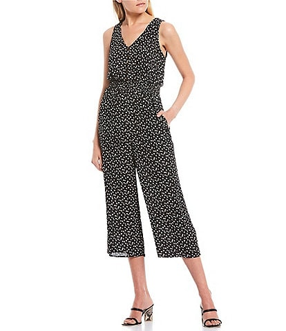 I.N. San Francisco V-Neck Dot Shirred Waist Cropped Jumpsuit
