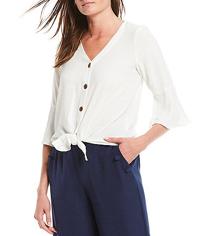 I.N. Studio Petite Size Crosshatch V-Neck 3/4 Bell Sleeve Button Down Tie-Front Top