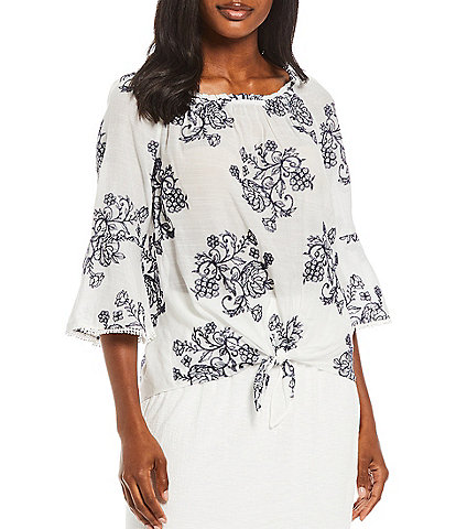 I.N. Studio Petite Size Floral Embroidered Gauzy Round Neck 3/4 Flounce Sleeve Peasant Top