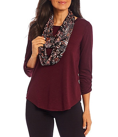 I.N. Studio Petite Size Hacci Knit 3/4 Ruched Sleeve Round Neck Paisley Print Scarf Top