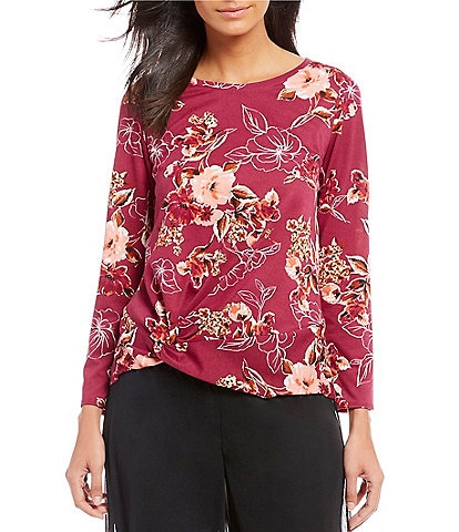 I.N. Studio Petite Size Knot Front Floral Print French Terry Top