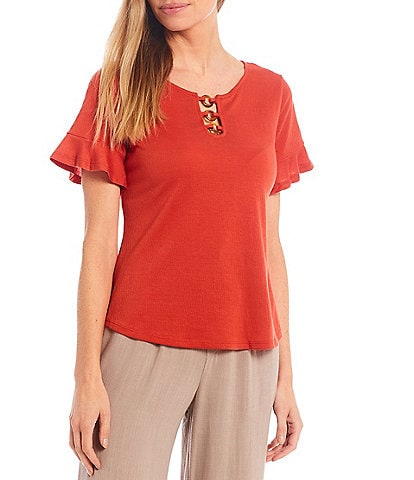 I.N. Studio Petite Size Solid Pucker Knit Ring Neckline Detail Short Flounce Sleeve Top
