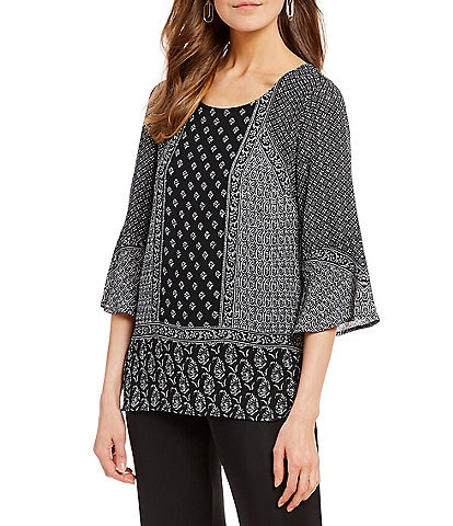 I.N. Studio Petite Size Tiered Flounce 3/4 Bell Sleeve Placement Print Top