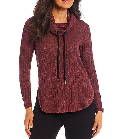 I.N. Studio Petite Size Solid Drawstring Cowl Neck Long Sleeve Knit Top