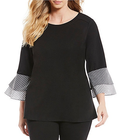 I.N. Studio Plus Size 3/4 Double Layer Sleeve Solid-Stripe Print French Terry Top