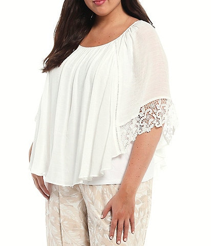 I.N. Studio Plus Size Gauzy Texture Scoop Neck Lace Trim Detail Elbow Sleeve Overlay Top