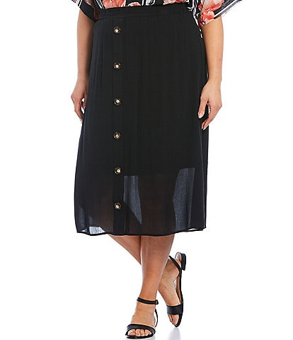 I.N. Studio Plus Size Solid Crepon Pull-On Lined Button Front Detail Midi Skirt