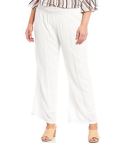 I.N. Studio Plus Size Solid Crepon Pull-On Wide Leg Pants