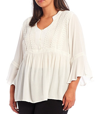 I.N. Studio Plus Size Solid Crepon Scalloped Edge Trim Notch Neck 3/4 Bell Sleeve Top