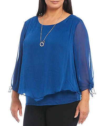 I.N. Studio Plus Size Solid Tie Sleeve Yoryu Popover Necklace Top
