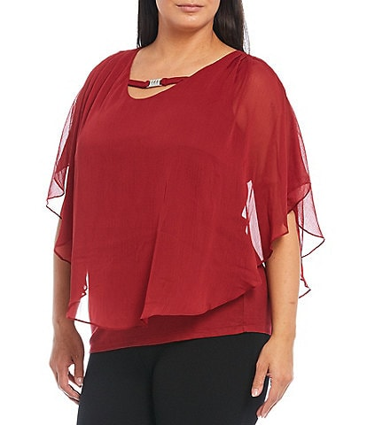 I.N. Studio Plus Size Solid V-Neck With Buckle Detail Yoryu Popover Top