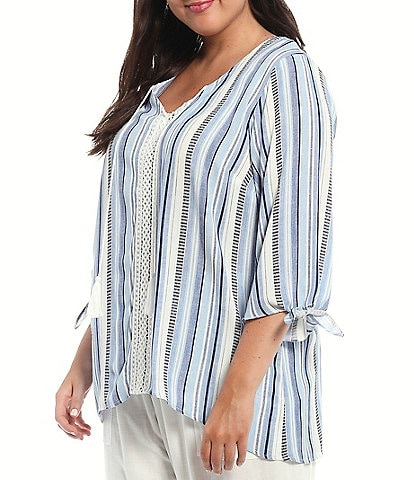 I.N. Studio Plus Size Textured Stripe Crepon Tassel Tie V-Neck Details 3/4 Tie Sleeve Crochet Trim Detail Top
