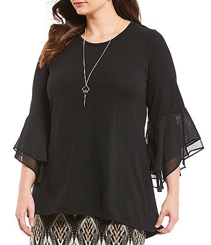 I.N. Studio Plus Size Tiered Bell Sleeve Tunic Top