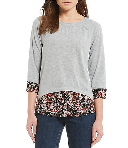 I.N. Studio Raglan Sleeve Ditsy Floral Print Two-Fer French Terry Top
