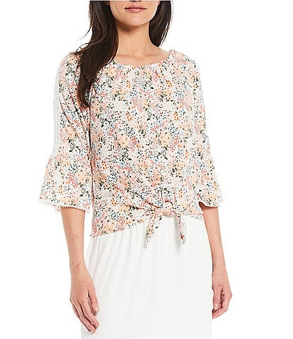 I.N. Studio Romantic Ditsy Floral Print Ruffle Boat Neck 3/4 Bell Sleeve Tie-Front Peasant Top