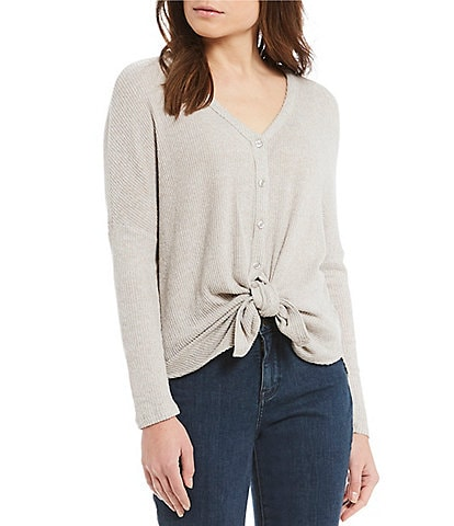 I.N. Studio Solid V-Neck Tie Button Front Fuzzy Knit Top