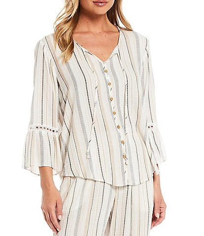 I.N. Studio Stripe Print Tie Notch Neck Crochet Inset Details 3/4 Bell Sleeve Button Front Peasant Top