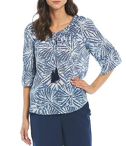I.N. Studio Sunburst Tie Dye Gauzy Texture Ruffle Tassel-Tie V-Neck Short Sleeve Top