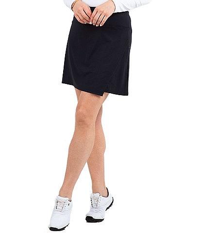 IBKUL Essential Knit Solid Faux Wrap Pull-On Skort