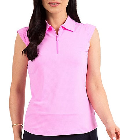 IBKUL Essential Solid Sleeveless Point Collar Polo Top