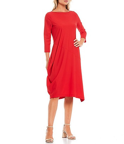 IC Collection 3/4 Sleeve Asymmetric Midi Dress