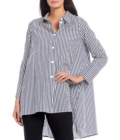 IC Collection Back Zipper Striped Button Front Cotton Blend Long Sleeve Hi-Low Shirt