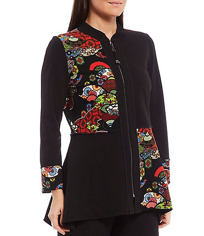 IC Collection Block Print Long Sleeve Asymmetrical Jacket