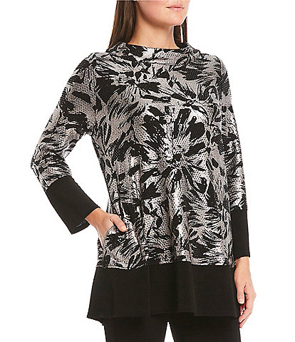 IC Collection Boat Neck Roll Collar Shimmer Metallic Floral Print Tunic