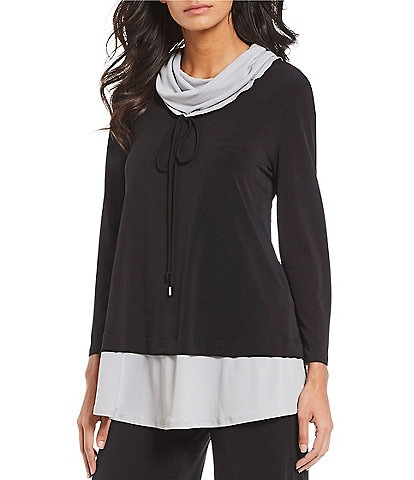 IC Collection Contrast Color Drawstring Cowl Neck Tunic
