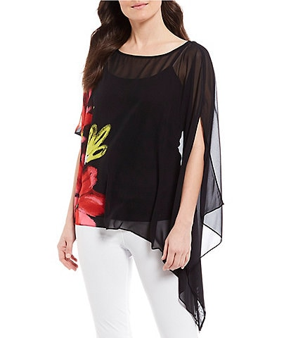 IC Collection Floral Print Chiffon Asymmetric Hem Poncho Top