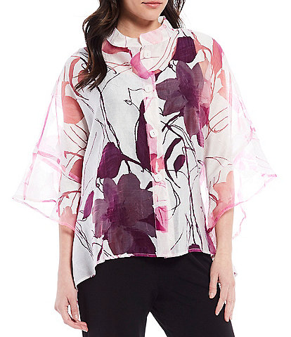 IC Collection Floral Sheer Burn Out Blouse