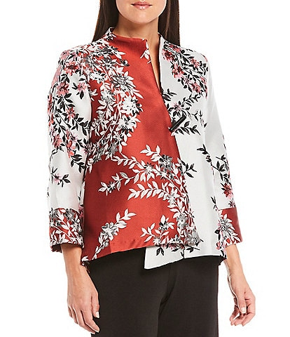 IC Collection Floral Tapestry 3/4 Sleeve Hi-Low One Button Jacket