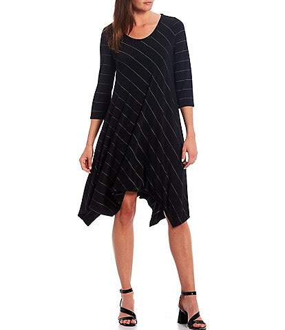 IC Collection Handkerchief Hem A-Line Stripe Dress