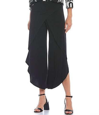 IC Collection Knit Jersey Side Wrap Angled Hem Wide Leg Pull-On Pants