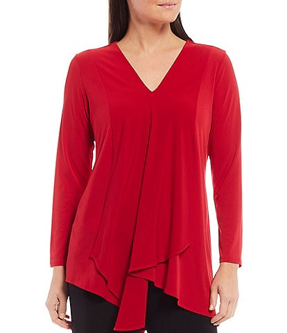 IC Collection Knit V-Neck Long Sleeve Asymmetric Top