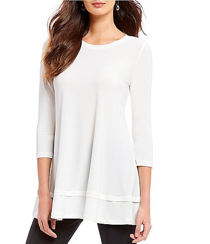 IC Collection 3/4 Sleeve Knit Jersey Layered Tunic