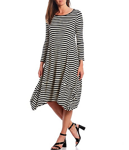 IC Collection Long Sleeve Stripe Balloon Dress